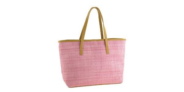 Dámska ružová slamená kabelka s koženými detailmi Classe Regina
