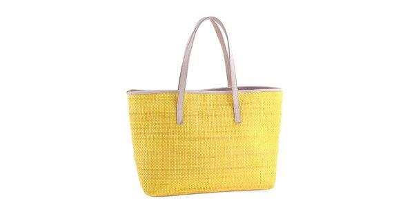 Dámska žltá slamená kabelka s koženými detailmi Classe Regina
