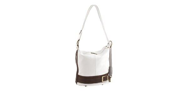 Dámska bielo-hnedá kožená kabelka Classe Regina