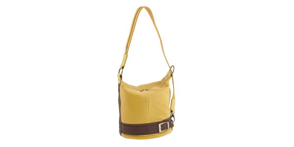 Dámska žlto-hnedá kožená kabelka Classe Regina