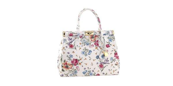 Dámska biela kvetinová kabelka so zámočkom Classe Regina