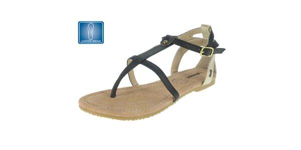 Dámske čierne sandále s koženou stielkou Beppi
