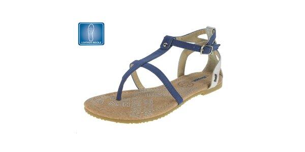 9be309e34f0e Dámske modré sandále s koženou stielkou Beppi