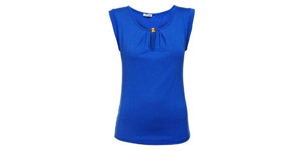 Dámske žiarivo modré tričko Holly Kate so zlatým gombíkom