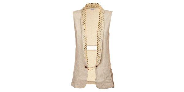Dámska dlhá béžová vesta Holly Kate so zlatými cvokmi