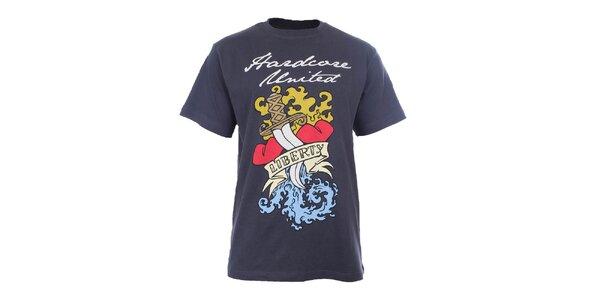 Pánske antracitové tričko s farebnou potlačou Hardcore United