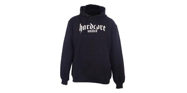 Pánska čierna mikina s nápisom Hardcore United