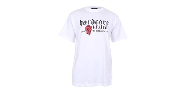 Pánske biele tričko s diablom Hardcore United