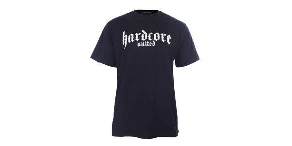 Pánske čierne tričko s nápisom Hardcore United