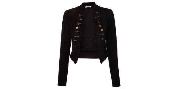 Dámsky čierny kabátik Holly Kate s kovovými gombíkmi ea587cc845