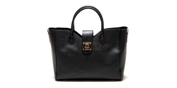 Dámska čierna hranatá kabelka so zámčekom Roberta Minelli
