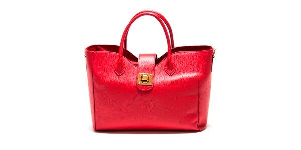 Dámska červená hranatá kabelka so zámčekom Roberta Minelli