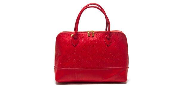 Dámska červená kabelka so vzorom Roberta Minelli
