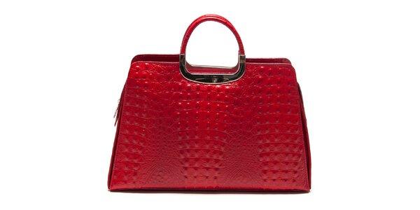 Dámska červená kabelka s krokodýlim vzorom Roberta Minelli