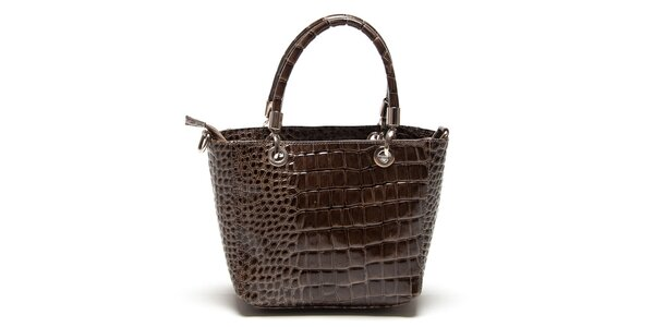 Dámska hnedá lesklá vzorovaná kabelka Roberta Minelli