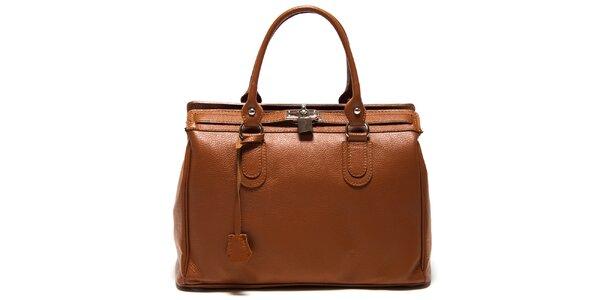Dámska hnedá kabelka so zámčekom Roberta Minelli