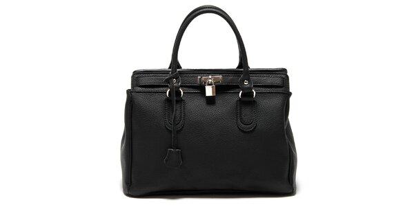 Dámska čierna kabelka so zámčekom Roberta Minelli