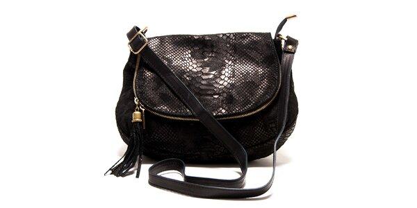 Dámska čierna kabelka s haďím vzorom Roberta Minelli