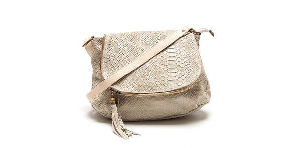 Dámska béžová kabelka s hadím vzorom Roberta Minelli