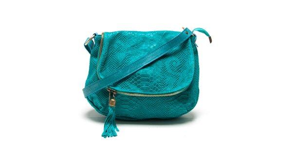 Dámska tyrkysová kabelka s haďím vzorom Roberta Minelli