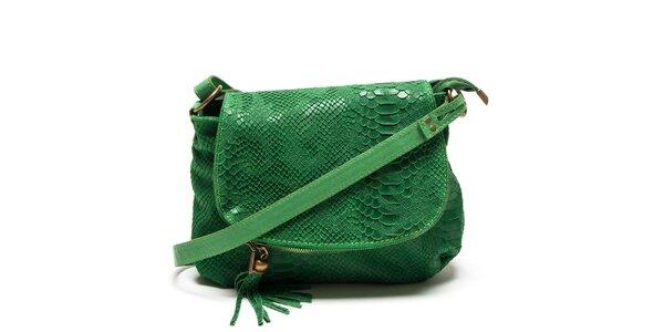 Dámska zelená kabelka s haďím vzorom Roberta Minelli