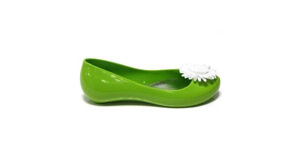 Dámske zelené baleríny so slnečnicou Favolla