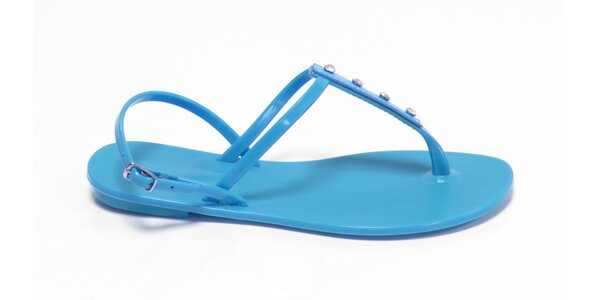 Dámske azúrovo modré sandálky Favolla s kamienkami