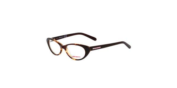 Dámske hnedé žíhané retro okuliare Miss Sixty