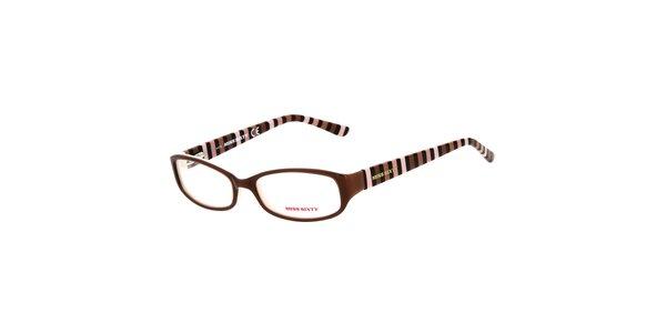 Dámske hnedé okuliare s pruhovanými stranicami Miss Sixty