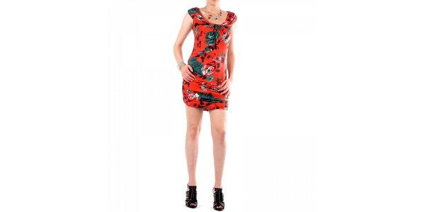Dámske červené šaty Fifilles de Paris s kvetinovou potlačou