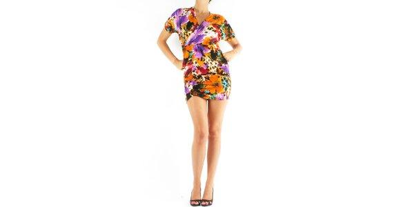 Dámske oranžovo-fialové šaty Fifilles de Paris s potlačou
