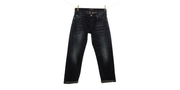 Pánske tmavo modré vyšisované džínsy Fuga