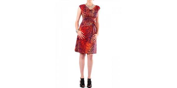 Dámske fialovo-oranžové leopardie šaty Fifilles de Paris