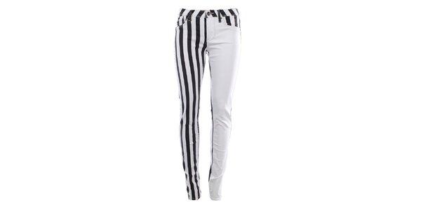 Dámske bielo-čierne džínsy s pruhmi Fuga