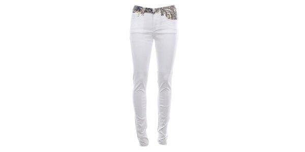 Dámske biele úzke džínsy s farebným pásom Fuga