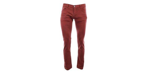 Pánske červené úzke nohavice Fuga