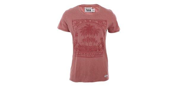Pánske tehlovo červené tričko s potlačou Fuga