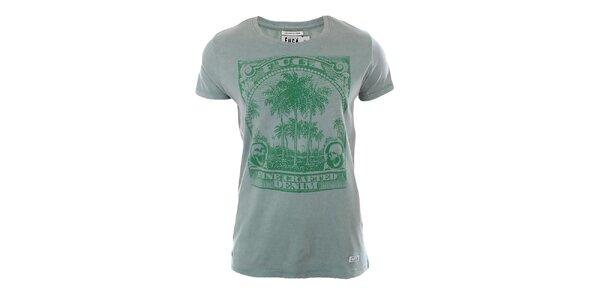 Pánske zelené tričko s potlačou Fuga