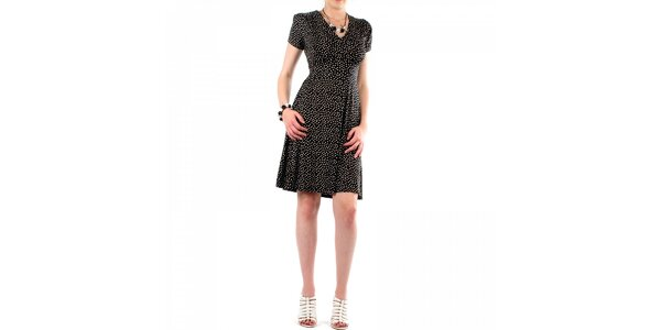 Dámske čierne bodkované šaty Fifilles