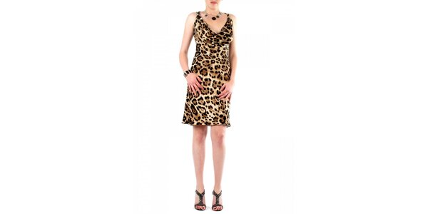 Dámske hnedé leopardie šaty Fifilles se Paris