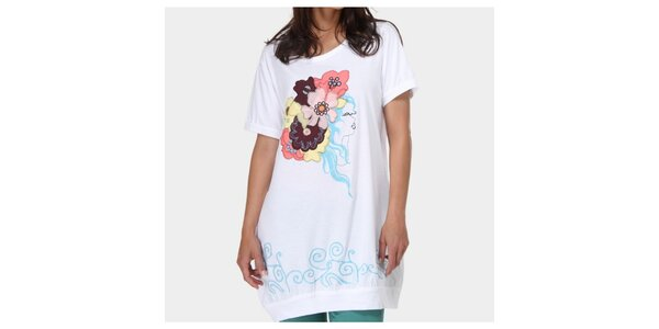 Dámske biele tričko s aplikáciami Piedra and Agua