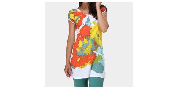Dámske biele tričko s farebnou potlačou Piedra and Agua
