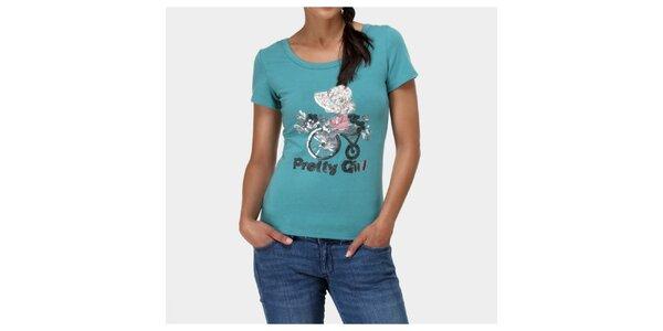 Dámske zelené tričko s aplikáciami Piedra and Agua