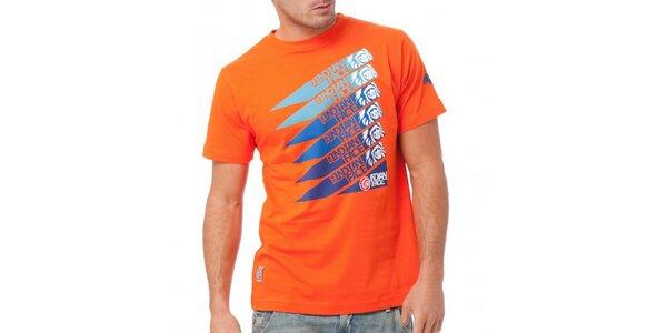 Pánske žiarivo oranžové tričko Indian Face a modrou potlačou