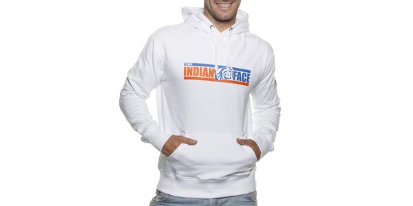 Pánska biela mikina Indian Face s kapucou a potlačou