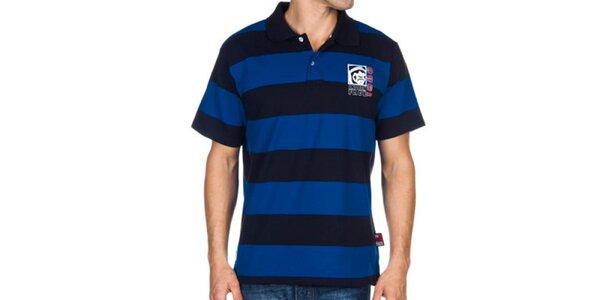 Pánske modré pruhované polo tričko Indian Face