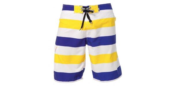 Pánske modro-žlto-biele pruhované plavky Indian Face
