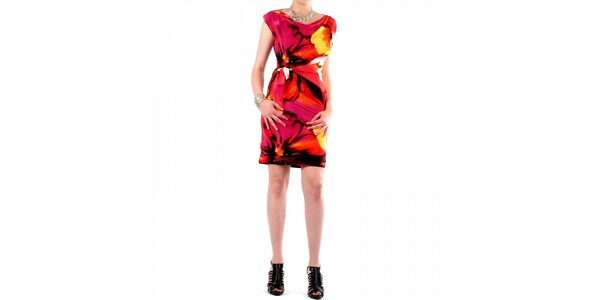 Dámske ružovo-oranžové šaty Fifilles de Paris s potlačou