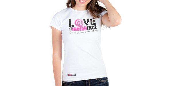 Dámske biele tričko Indian Face s potlačou