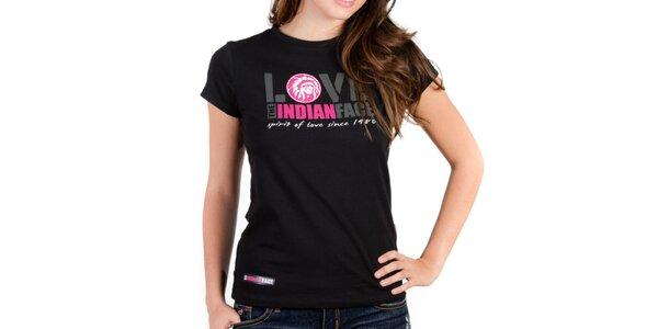 Dámske čierne tričko Indian Face s potlačou